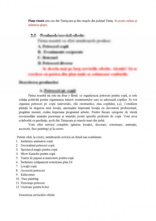Proiect Plan De Afaceri Firma Organizare Evenimente 277446
