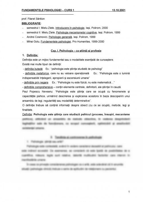 Curs: Fundamentele Psihologiei (#376034) - Graduo