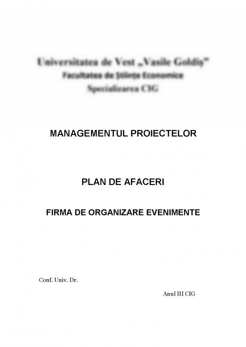 Referat Plan De Afaceri Firma De Organizare Evenimente Sc